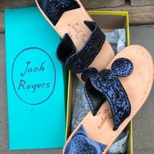 Jack Rogers navy sparkle glitter slides.